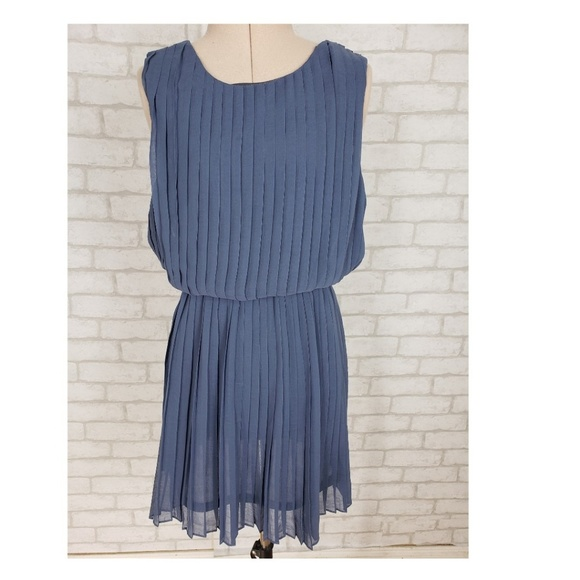 Lush Dresses & Skirts - Lush Pleated Mini Blue Deep V Back Dress Small